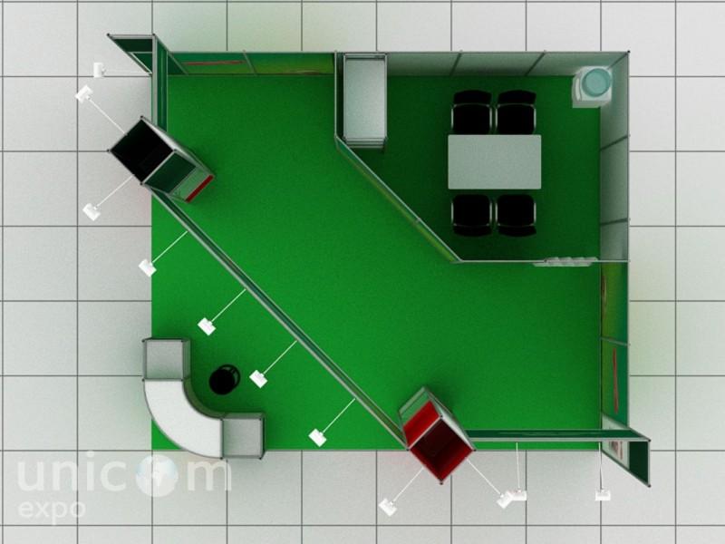 Выставочный стенд № 10024: Бюджетный, Классический, от 20 до 50 кв. м, Сельское хозяйство, Стенды из выставочного конструктора, Угловой, Улучшенный стандартный, Химия, Цветы