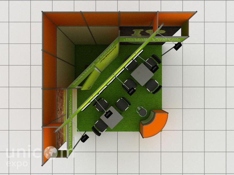 Выставочный стенд № 10033: Бюджетный, до 20 кв. м, Классический, Сельское хозяйство, Стенды из выставочного конструктора, Угловой, Улучшенный стандартный, Химия, Цветы