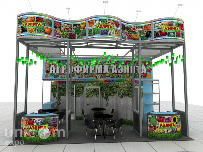 Выставочный стенд № 10038: от 20 до 50 кв. м, Полуостровной, Поп-арт, Сельское хозяйство, Стенды из выставочного конструктора, Улучшенный стандартный, Цветы