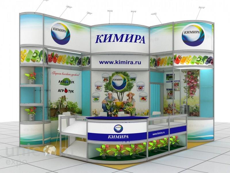 Выставочный стенд № 10052: Баннерные стенды, Бюджетный, от 20 до 50 кв. м, Сельское хозяйство, Угловой, Улучшенный стандартный, Цветы