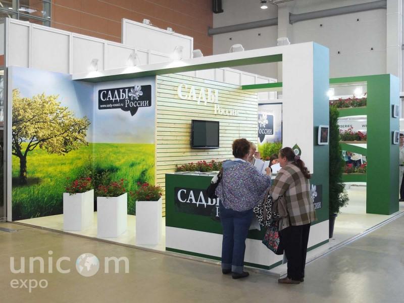 Выставочный стенд № 20017: Деревянные стенды, Классический, от 50-100 кв. м, Полуостровной, Сельское хозяйство, Цветы, Эксклюзивный