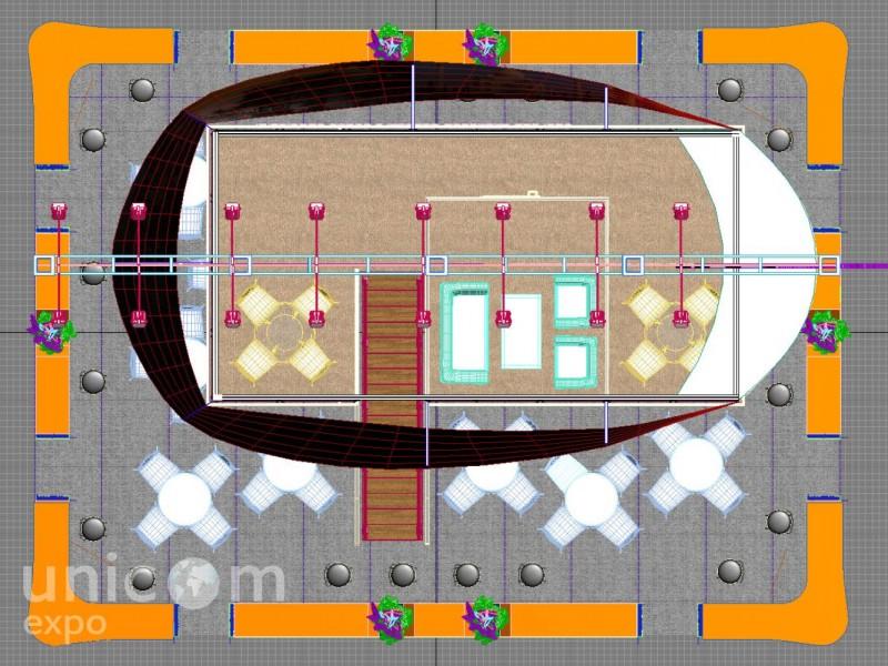 """Проект выставочного стенда № 20024: MITT """"Путешествия и туризм"""", более 100 кв. м, Двухэтажный, Деревянные стенды, Островной, Поп-арт, Спорт и туризм, Стенды с подвесом, Стильный, Эксклюзивный"""