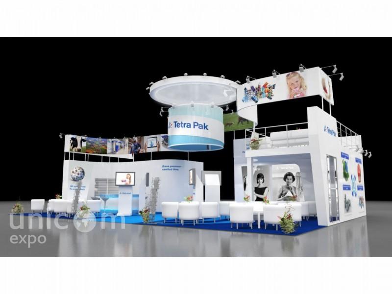 Выставочный стенд № 20048: более 100 кв. м, Двухэтажный, Деревянные стенды, Европейский стиль, Классический, Молочная и мясная индустрия, Пищевая промышленность, Полуостровной, Стенды с подвесом, Эксклюзивный