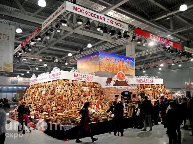 Выставочный стенд № 20059: более 100 кв. м, Золотая осень, Классический, Островной, Пищевая промышленность, Стенды из ЛДСП, Стенды с подвесом, Эксклюзивный