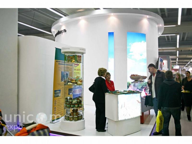 Выставочный стенд № 20071: более 100 кв. м, Деревянные стенды, Европейский стиль, Золотая осень, Модерн, Необычный, Островной, Пищевая промышленность, Сельское хозяйство, Современный, Стильный, Эксклюзивный