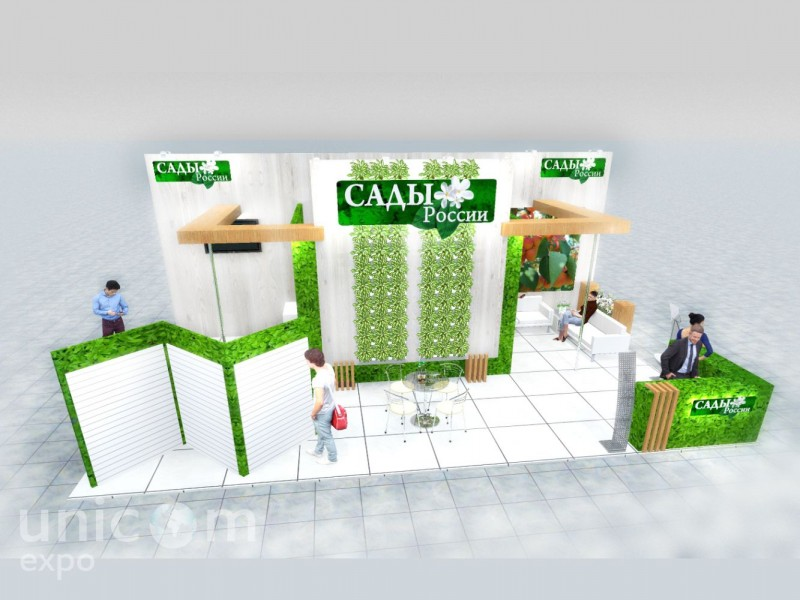Выставочный стенд № 20082: Деревянные стенды, от 50-100 кв. м, Полуостровной, Сельское хозяйство, Стенды из ЛДСП, Стильный, Цветы, Эксклюзивный