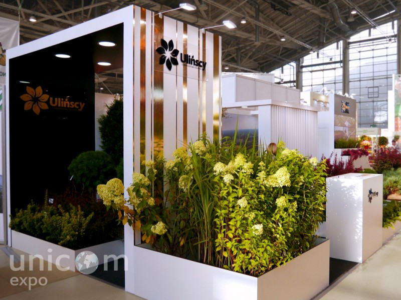 Выставочный стенд № 20088: Деревянные стенды, Европейский стиль, Классический, от 20 до 50 кв. м, Полуостровной, Сельское хозяйство, Цветы, Эксклюзивный