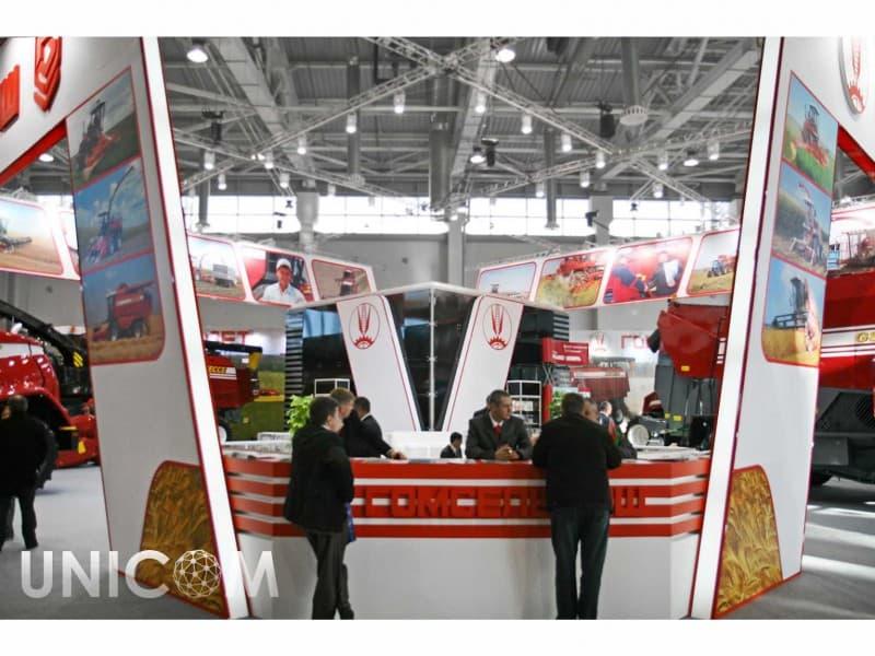 Выставочный стенд № 20049: более 100 кв. м, Деревянные стенды, Европейский стиль, Золотая осень, Классический, Полуостровной, Промышленность, Сельское хозяйство, Транспорт и техника, Эксклюзивный