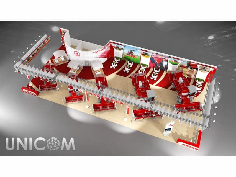 Выставочный стенд № 20047: Агросалон, более 100 кв. м, Деревянные стенды, Классический, Полуостровной, Промышленность, Сельское хозяйство, Стенды с подвесом, Транспорт и техника, Эксклюзивный