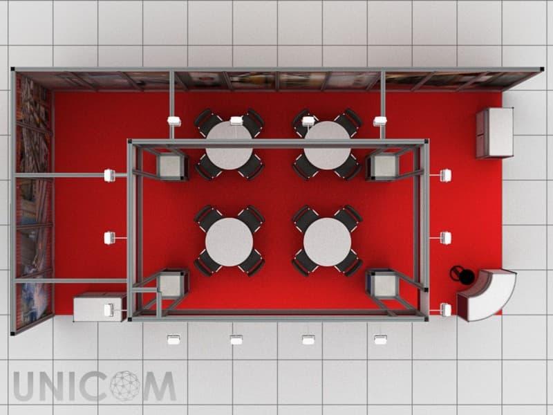 Выставочный стенд № 10022: Безопасность и охрана, Бюджетный, Классический, Лифт экспо, от 20 до 50 кв. м, Промышленность, Стенды из выставочного конструктора, Угловой, Улучшенный стандартный