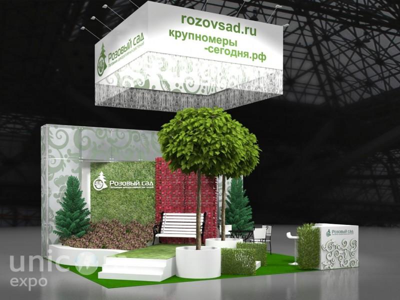 Выставочный стенд № 20065: от 20 до 50 кв. м, Полуостровной, Сельское хозяйство, Стенды из стекла, Стенды с подвесом, Стильный, Цветы, Эко-стиль, Эксклюзивный