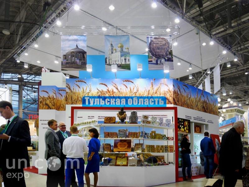 Выставочный стенд № 20089: более 100 кв. м, Деревянные стенды, Золотая осень, Интерактивный, Островной, Продукты питания, Сельское хозяйство, Стенды из ЛДСП, Стенды с подвесом, Стильный, Эксклюзивный